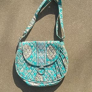 Turquoise Cream Vera Bradley purse handbag